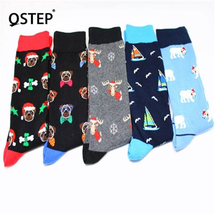 Hot Sale Factory Fashional New Design Pattern Men Happy Socks In-Stock Funky Cotton Christmas Socks
