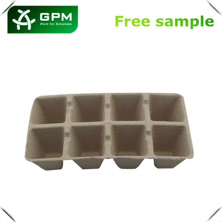 Wholesale molded pulp paper seed starter tray ,Eco-Friendly hot press coconut plant pots, Disposable Seedling trays