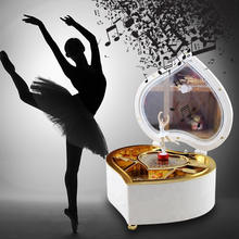 Rotating Dancing Ballerina Music Box Tiny Music Box Collection Wooden Heart Shape Nature Gift Children's Musical Boxes