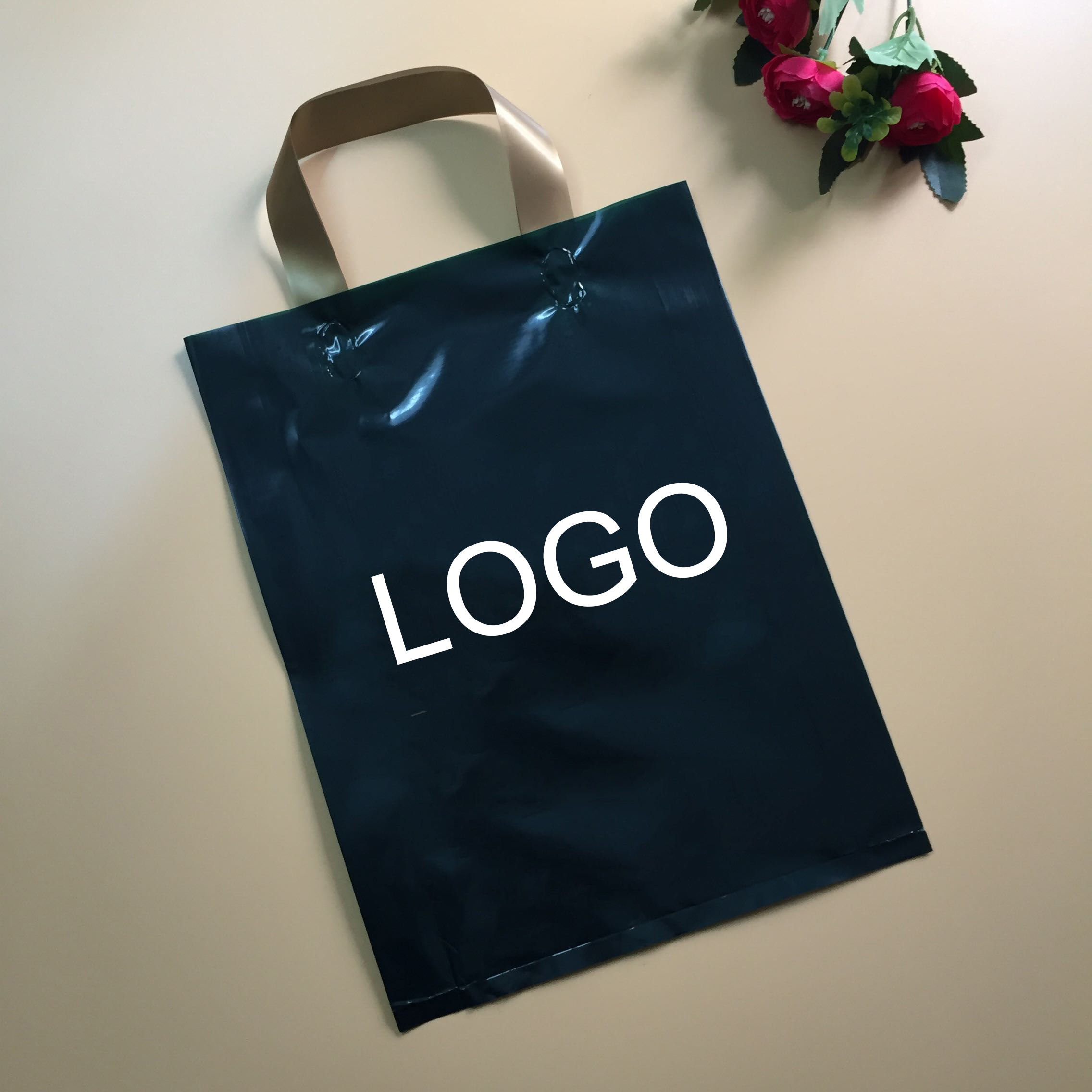 shopping t-shirt clothes custom printed clear plastic bag with logo and text printing