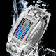 binary led watch wholesale led stainless steel watch waterproof