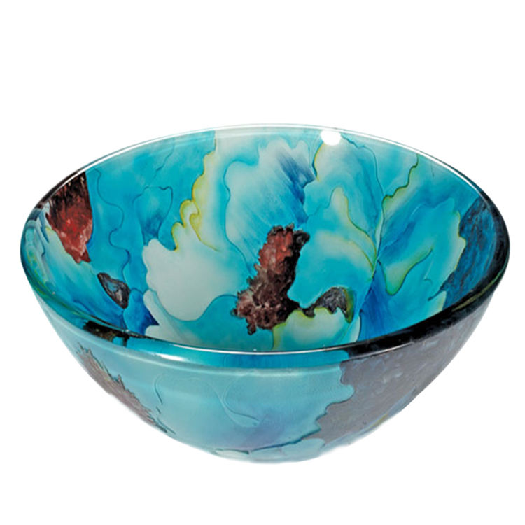 Mexican Painted Washing Colored Glass Vessel Bowl Sink Basin