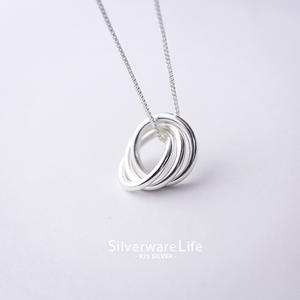 Fashion Jewelry 925 Sterling Silver Three Circle Pendant Necklace
