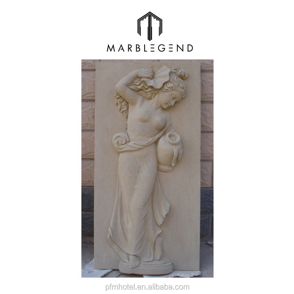 PFM white stone nude lady decorative sandstone wall panel relief