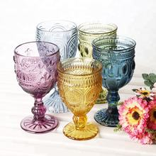 Machine Pressed Novelty Decorative Colored Embossed Short Vintage Wine Glasses