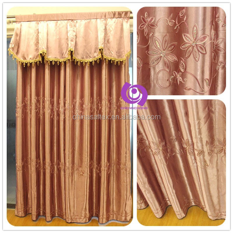 High Quality 100% Polyester Embroidered (EMB) Blackout Fabric Curtains with Valance