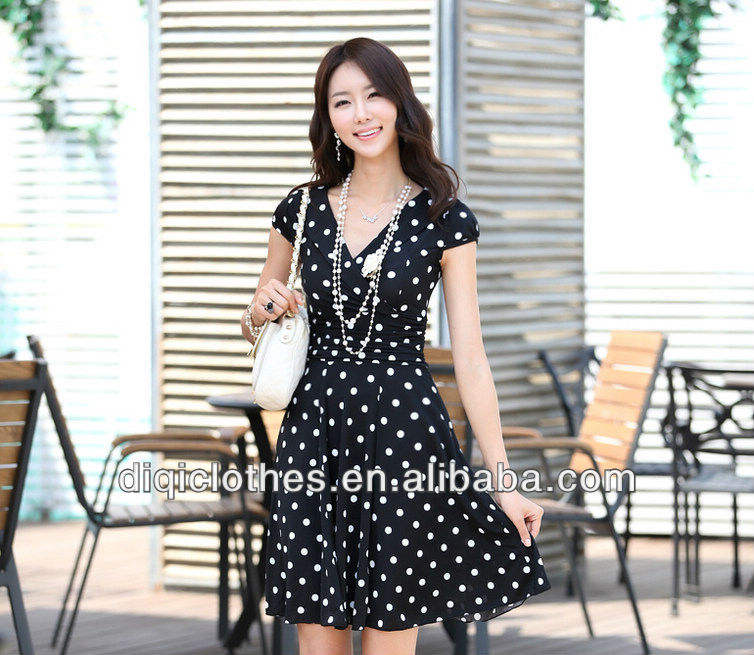 lady most popular v-neck dress with polka dot, fomal dress wholesale