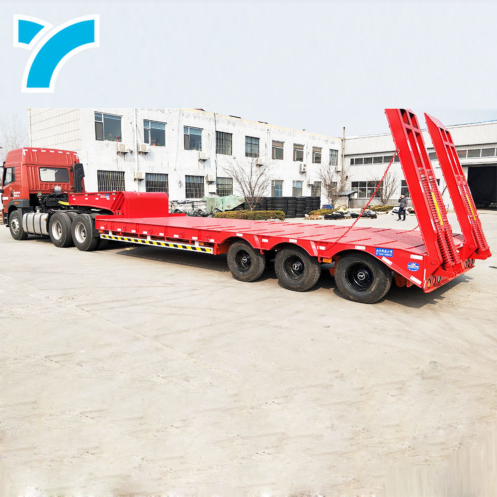 China manufacturer low bed truck semi 3 axles lowboy trailer lowboy semi trailer for sale