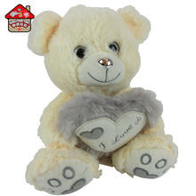 New design stuffed plush toy teddy bear with I LOVE YOU embroidery heart for girl friend