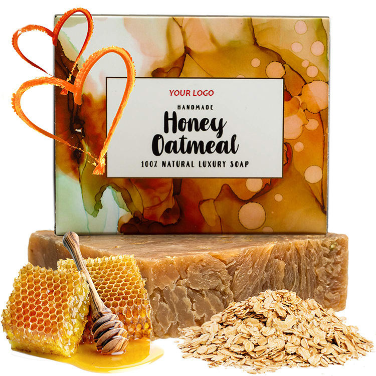 100% natural organic honey oatmeal exfoliating bath soap for women and men