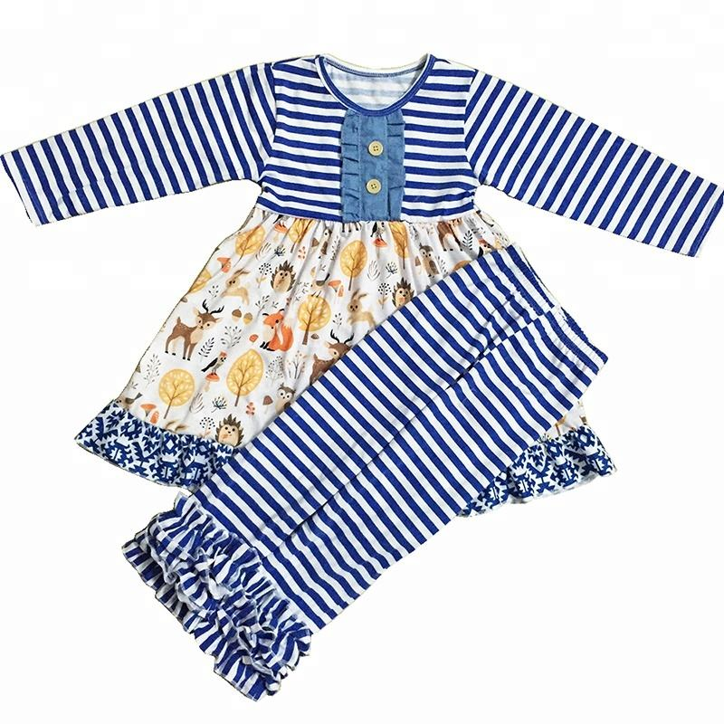 Print on Demand OEM Manufacturer Fall Style Back to School Cotton Cheap Newborn Baby Clothing Sets