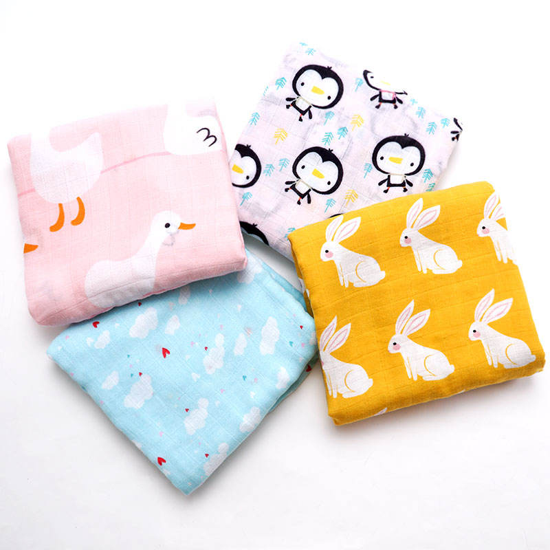 Yiwu OEM Pattern Cute Dog Printed Bamboo Cotton Swaddle Kids Baby Blanket
