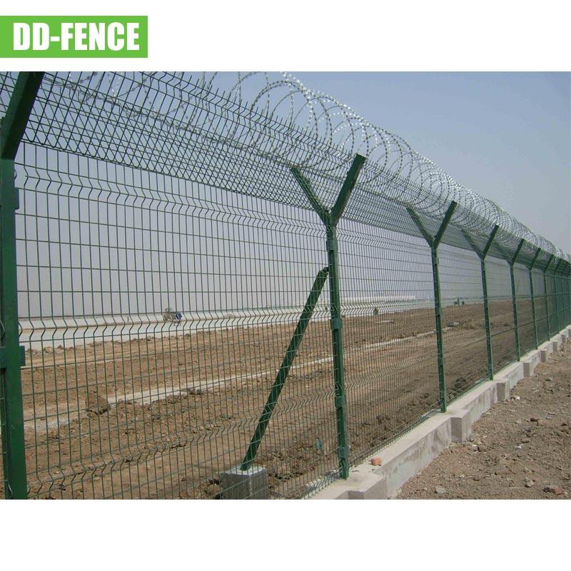 Best quality 4.0mm wire 3.7m Boundary airport fence electric galvanized and powder coated fence