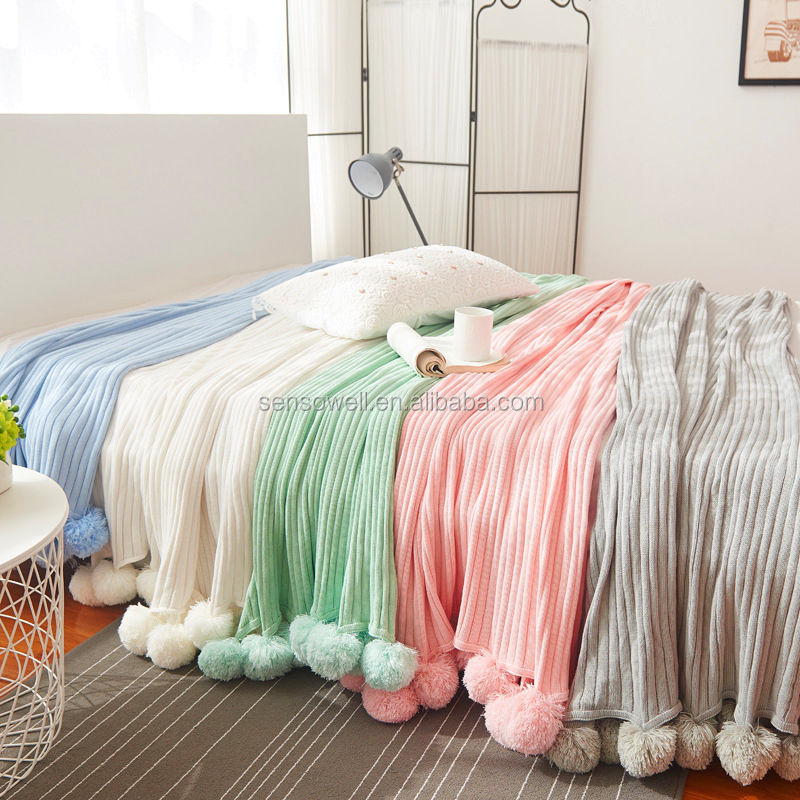 Hot Sale quality brand cotton POM crochet Threads blanket for baby adults double size bed kitted throws bed runners
