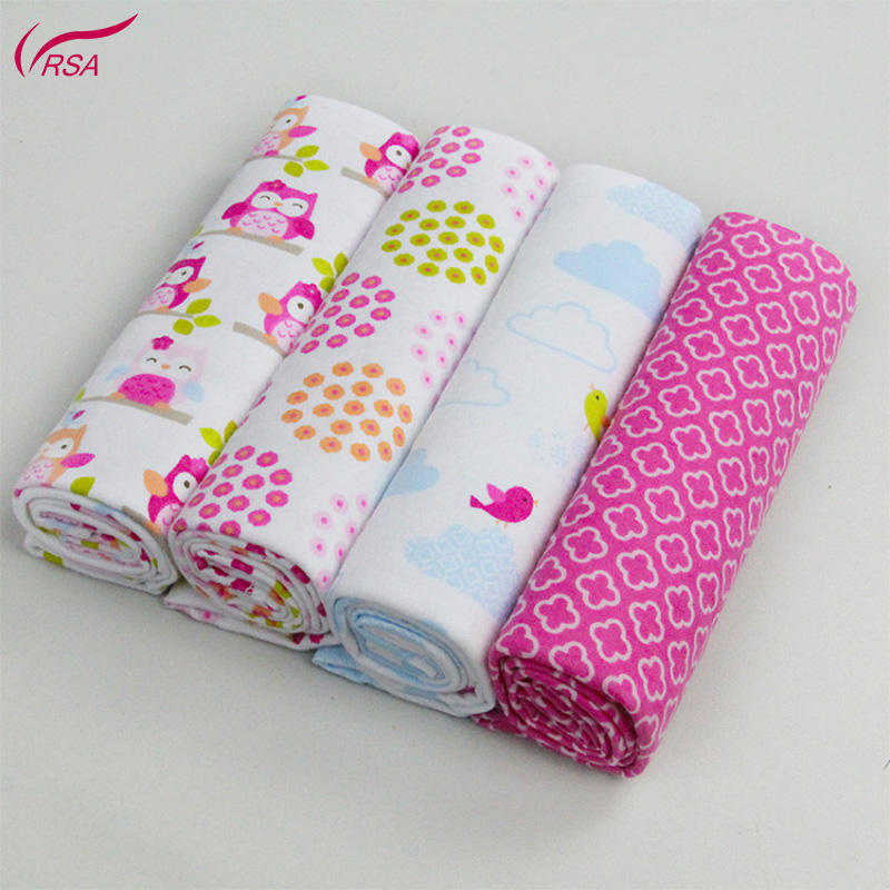 28 X 28 In High Quality Colorful 4PCS 100% Cotton Flannel Receiving Swaddle Baby Blankets Newborn Bedsheet Supersoft Blanket