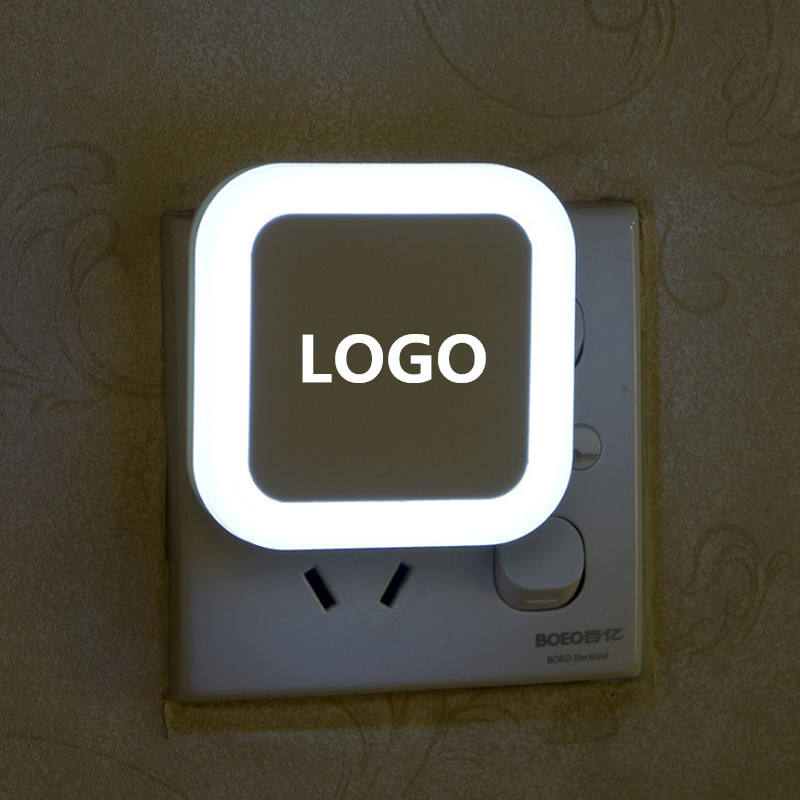 Customize Logo Printing Night Light With Sensor Control Night Light Mini EU US Plug Novelty Square Bedroom lamp For Baby Gift