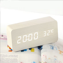 Smart voice control digital light clock White wood shell white led light alarm clock wooden big LED display alarm clock