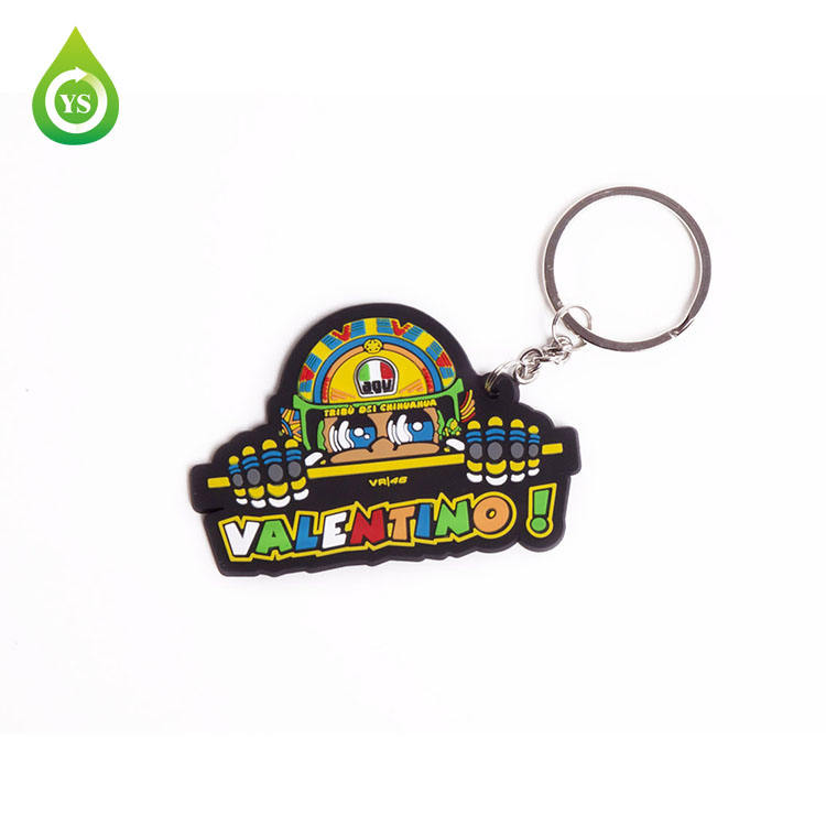 Fashion soft pvc smile keychain Valentino keyring ball key chain