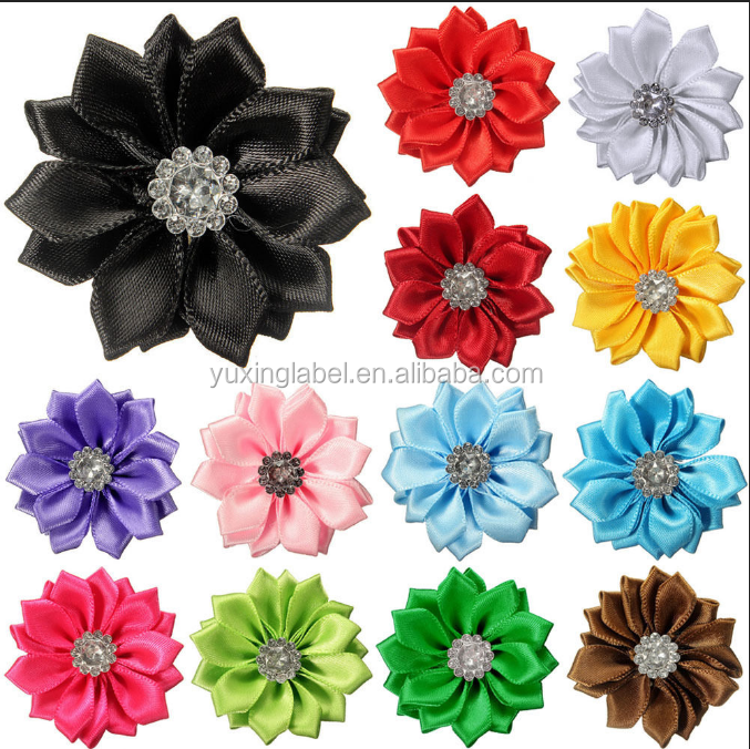 Satin ribbon bow making flower with elastic loop