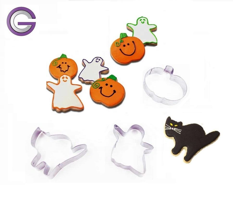 3-pc Halloween Cookie Cutter/Molds Set, Stainless Steel Cookie Cutter/ Mould in 3 different shapes