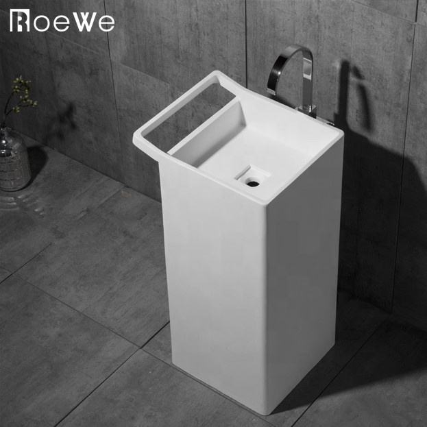 bathroom hand washing basin stand alone solid surface pedestal sink,cast resin stone composite freestanding washbasin for toilet
