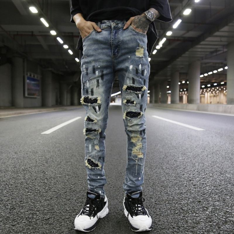 OEM fog straight skinny feet knee hole ripped patchwork jeans men stretch slim fit pockets street pants stock dropshipping