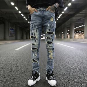 OEM Frog straight skinny pies rodilla agujero rasgado patchwork jeans hombres stretch slim fit bolsillos calle inventario de pantalones dropshipping