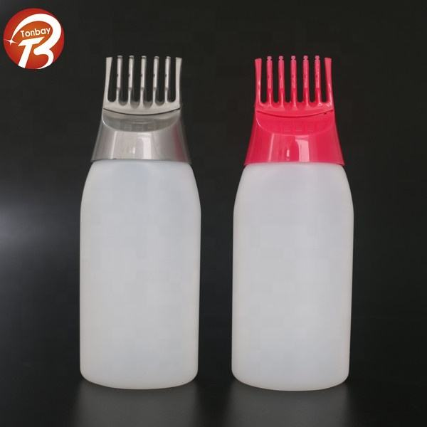 Privately owned high quality low price 170ml plastic comb applicator bottle HDPE hair dye bottle container