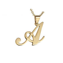 Olivia Jewelry 18 inch Gold Chain Stainless Steel Mens Womens Name Initial Letter Pendant Necklace with 26 Letters