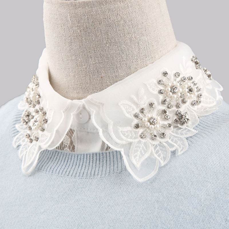 Fashion Garment Accessories Flowers Embroidery Fake Sweater Shirt Pearl Rhinestone Lace Fabric Collar