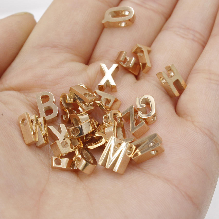 DIY Stainless steel Single Alphabet Initial Letter for Name Bracelet Capital, lowercase M Charm Bead, Complete Alphabet