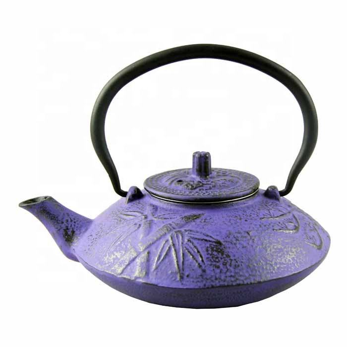 0.3L-1.1L color enamel tetsubin cast iron kettle teapot With stainless steel wire mesh Enamel inside and painting outside