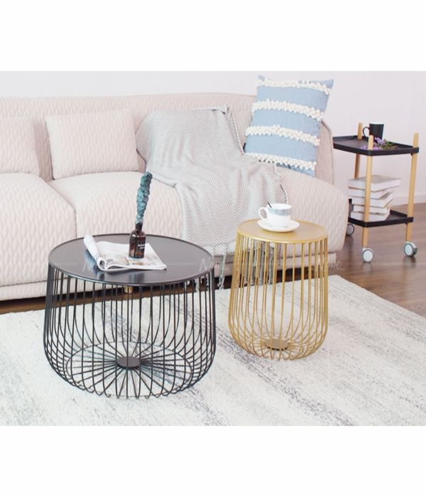 Modern living room furniture hammered metal wire drum coffee table
