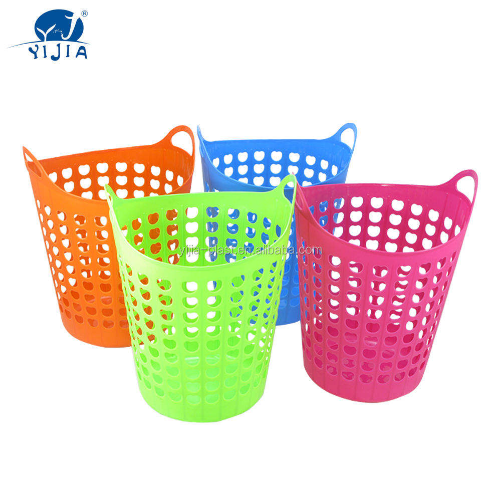 Flexible Plastic Laundry Basket with Handles