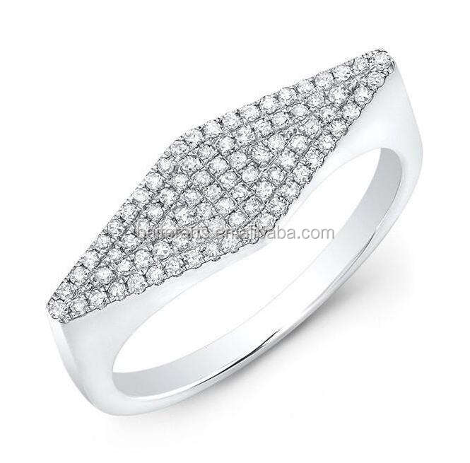 925 Sterling Zilver AAA Zirconia Pave Set CZ Diamond Kite Ring/Wedding Engagement Band Ring