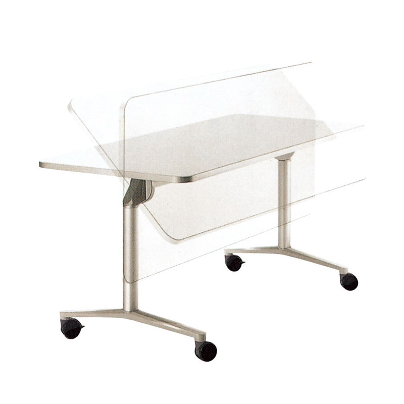 China OEM movable desk steel metal table legs white folding table with wheel