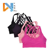 Sexy Sports Running Vest Padded Fitness Bra Workout Gym Camisole Bralette Solid Tops Straps Cross Back Bra