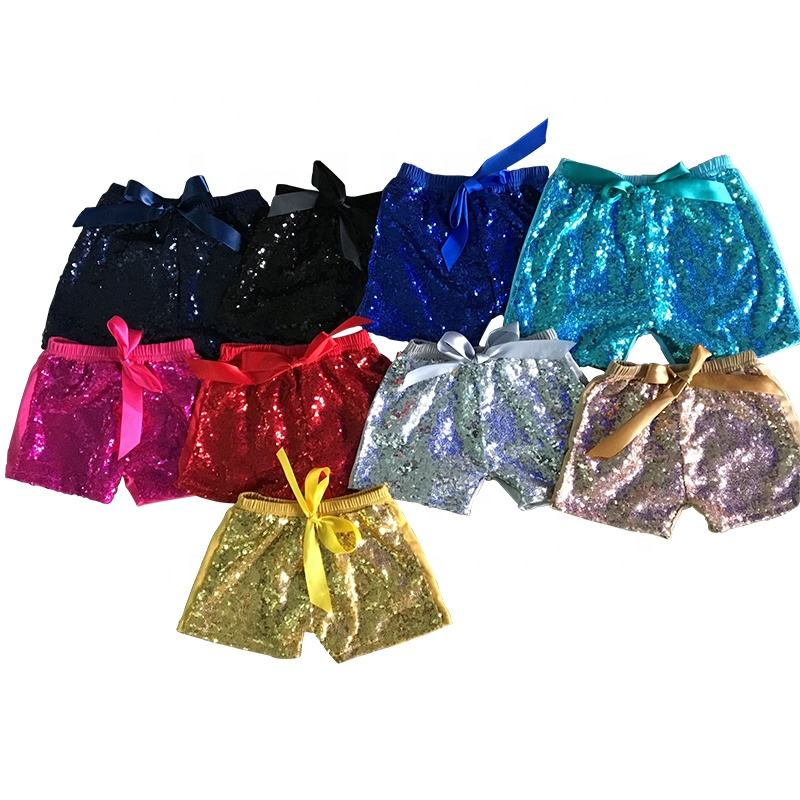 Multi Colors Kids Sequin Shorts Hot Sale Summer Baby Girls Elastic Waist Bowknot Shiny Shorts Children Boutique Clothes