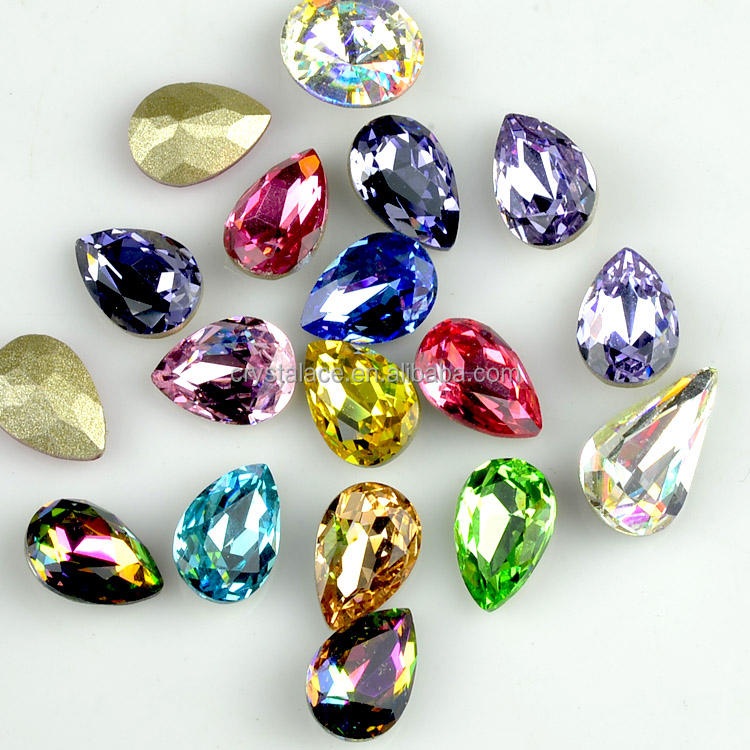 Colored fancy crystal stones, fancy glass stones for jewelry making and garments
