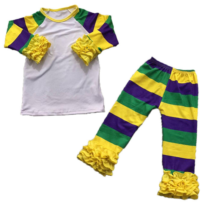 Mardi Gras girl outfit ruffle legging stripe solid color shirt and pants kids holiday clothing