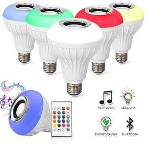 12W E27 AC110-240V Smart RGBW Wireless Speaker Music Playing Led Bulb With Remote Control