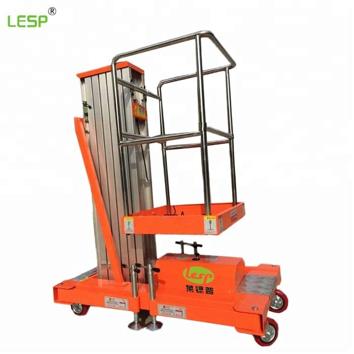 Hydraulic aluminum alloy lift platform for aerial work,Single mast Aluminium Alloy Lift platforms hydraulic elevating work Lift
