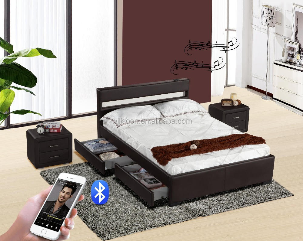 4 Drawers Double Size LED&Speaker Soft PU leather Storage Bed 1894-1DS
