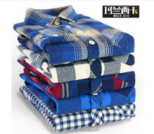 Top branded low price casual design egyptian cotton flannel plaid check dress shirt for men