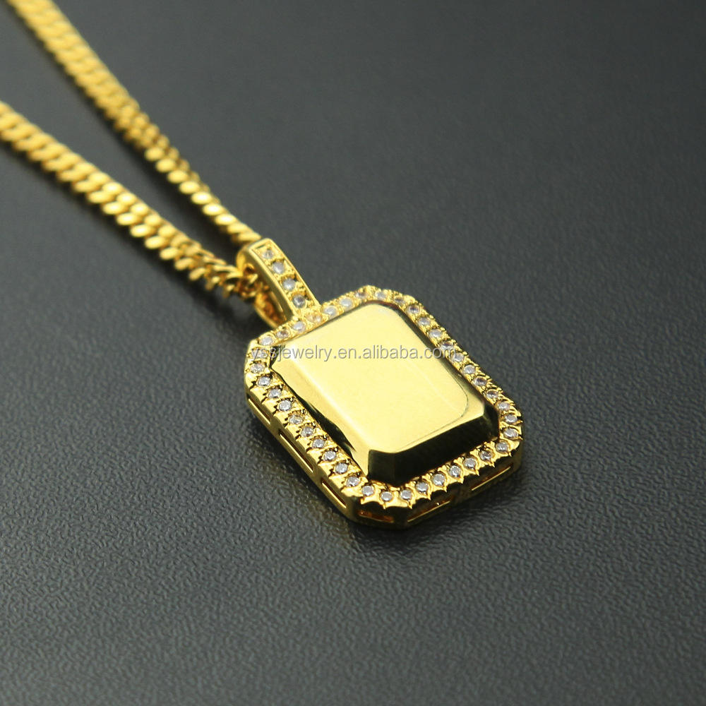 Jewelry gold U.S. army card pendant CZ diamond cool U.S. army card pendant 18k gold plated U.S. army card theme pendant necklace
