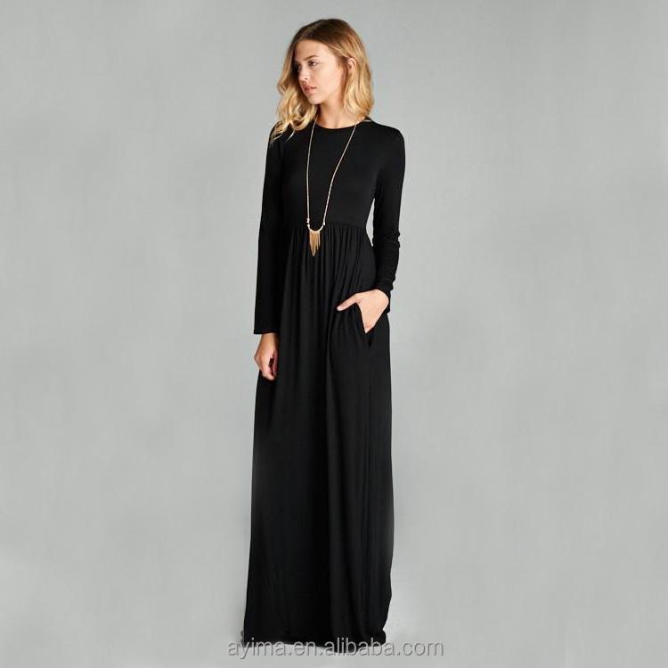Vente En Gros Robe Longue Femme Musulmane À Manches Longues