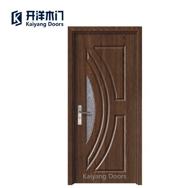 Europe model mdf pvc laminated bathroom doors glass door wooden door design