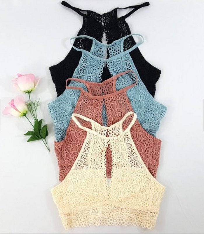 Open front and back Lace bralette Light and Thin High Neck Lace Bralette