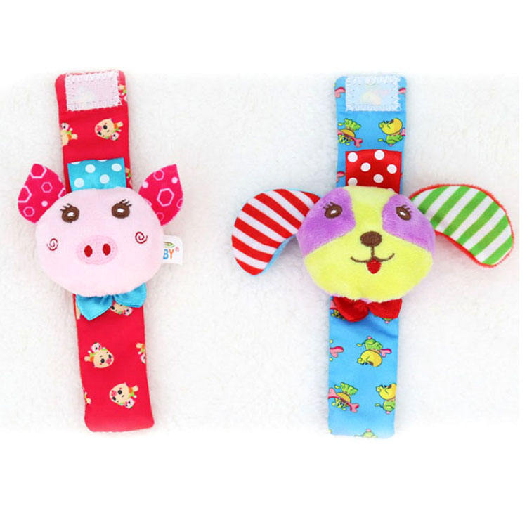 K048A Dog Pig Rattle Soft Me Wrist Pals Bell Toy Baby sensory toys