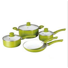 Cookware kitchen eco-friendly green aluminum ceramic cooking pot and pan set